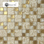 TST Crystal Glass Tiles Golen Glass Mosaic Tile With inner Flowery Pattern Transitional Home Design (2)-800x800